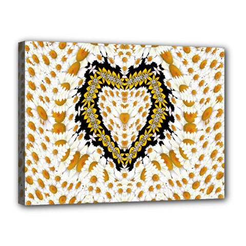 Hearts In A Field Of Fantasy Flowers In Bloom Canvas 16  X 12  by pepitasart
