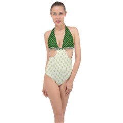 Canal Flowers Cream Pattern Cream Background Sqaured Canal Flowers Cream On Green Small Squared Canal Plaques Galore Canalsbywhackylogo1 Halter Front Plunge Swimsuit