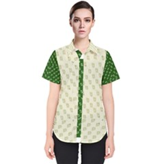 Canal Flowers Cream On Green Small Squared Canal Flowers Cream Pattern Cream Background Sqaured Women s Short Sleeve Shirt
