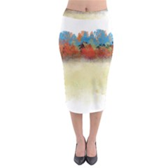 Colorful Tree Landscape In Orange And Blue Midi Pencil Skirt by digitaldivadesigns