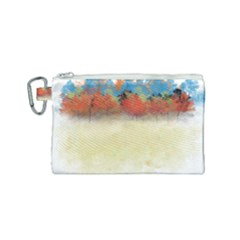 Colorful Tree Landscape In Orange And Blue Canvas Cosmetic Bag (small) by digitaldivadesigns