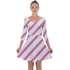 Alizarin Crimson Stripes Pattern Quarter Sleeve Skater Dress