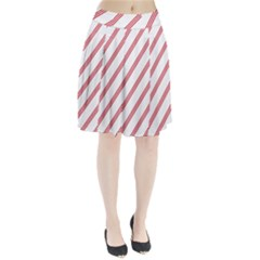 Alizarin Crimson Stripes Pattern Pleated Skirt