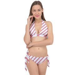Alizarin Crimson Stripes Pattern Tie It Up Bikini Set