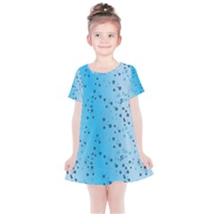 Blue Paint Splashes Pattern Kids  Simple Cotton Dress