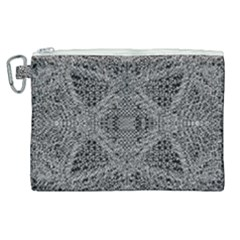 Black And White Psychedelic Pattern Canvas Cosmetic Bag (xl) by goodart