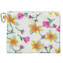 Flower Wallpaper Pattern Canvas Cosmetic Bag (xxl) by goodart