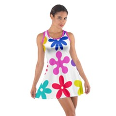 Retro Flower Ornaments Cotton Racerback Dress