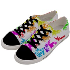 Good Vibes Rainbow Colors Funny Floral Typography Men s Low Top Canvas Sneakers by yoursparklingshop