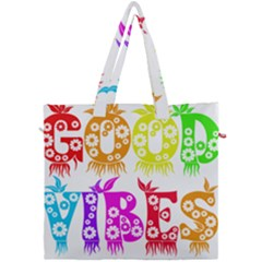 Good Vibes Rainbow Colors Funny Floral Typography Canvas Travel Bag by yoursparklingshop