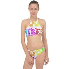 Good Vibes Rainbow Colors Funny Floral Typography Racer Front Bikini Set