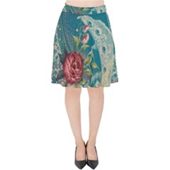 Rich Pattern Flower Velvet High Waist Skirt by goodart