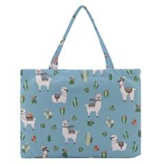 Lama And Cactus Pattern Zipper Medium Tote Bag by Valentinaart