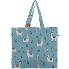 Lama And Cactus Pattern Canvas Travel Bag by Valentinaart