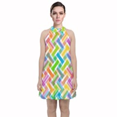 Cool Abstract Pattern Colorful Velvet Halter Neckline Dress  by goodart