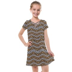 Modern Wavy Geometric Pattern Kids  Cross Web Dress