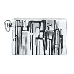 Black And White City Canvas Cosmetic Bag (large) by digitaldivadesigns