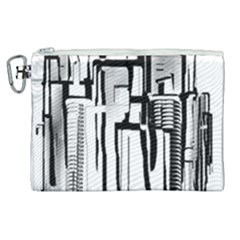 Black And White City Canvas Cosmetic Bag (xl) by digitaldivadesigns