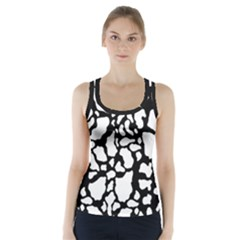 Black White Cow Print Racer Back Sports Top