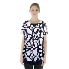 Black White Cow Print Skirt Hem Sports Top