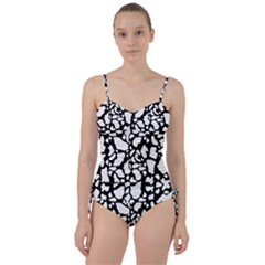 Black White Cow Print Sweetheart Tankini Set