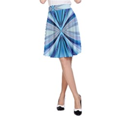 Abstract Blue A Line Skirt