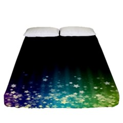 Colorful Space Rainbow Stars Fitted Sheet (queen Size)
