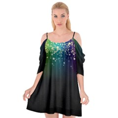 Colorful Space Rainbow Stars Cutout Spaghetti Strap Chiffon Dress