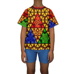 The Triforce Stained Glass Kids  Short Sleeve Swimwear