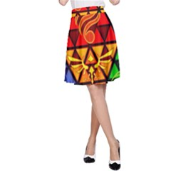 The Triforce Stained Glass A Line Skirt