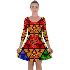 The Triforce Stained Glass Quarter Sleeve Skater Dress