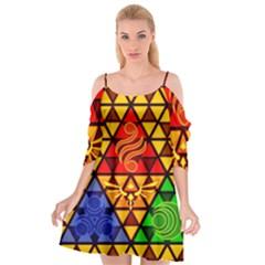 The Triforce Stained Glass Cutout Spaghetti Strap Chiffon Dress