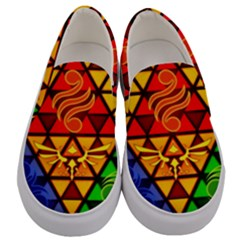 The Triforce Stained Glass Men s Canvas Slip Ons