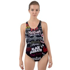 Metal Bands College Cut Out Back One Piece Swimsuit