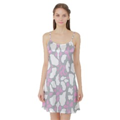 Pink Grey White Cow Print Satin Night Slip