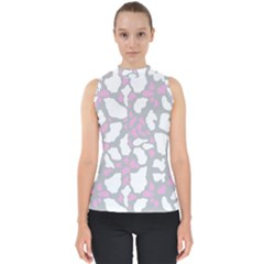 Pink Grey White Cow Print Shell Top