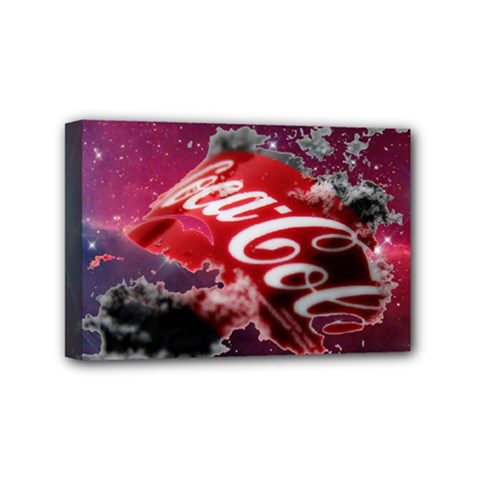 Coca Cola Drinks Logo On Galaxy Nebula Mini Canvas 6  X 4