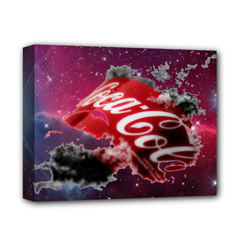 Coca Cola Drinks Logo On Galaxy Nebula Deluxe Canvas 14  X 11