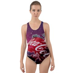 Coca Cola Drinks Logo On Galaxy Nebula Cut Out Back One Piece Swimsuit by Samandel