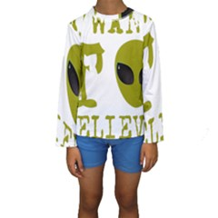 I Want To Believe Kids  Long Sleeve Swimwear by Samandel