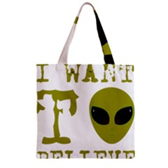 I Want To Believe Zipper Grocery Tote Bag