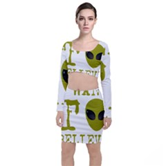 I Want To Believe Long Sleeve Crop Top & Bodycon Skirt Set