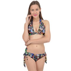 Comic Book Images Tie It Up Bikini Set