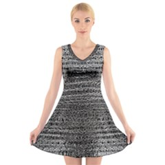 Silver Chain Maille Print V Neck Sleeveless Dress by bloomingvinedesign