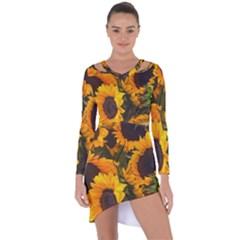 Sunflowers Asymmetric Cut Out Shift Dress