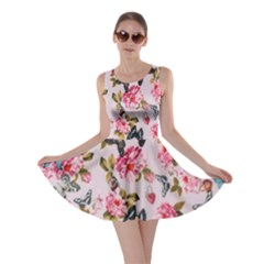 Floral Butterflies Print Skater Dress