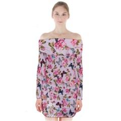 Floral Butterflies Print Long Sleeve Off Shoulder Dress