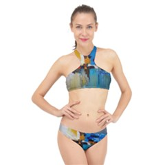 Abstract High Neck Bikini Set