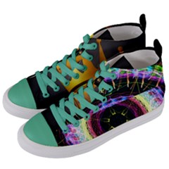 Crowned Existence Of Neon Women s Mid Top Canvas Sneakers by TheExistenceOfNeon2018