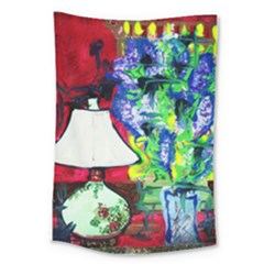 Lilac, Lamp And Curtain Window 2 Large Tapestry by bestdesignintheworld